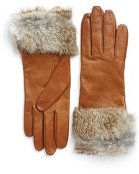 Lord & Taylor - Fur-trimmed Leather Gloves - Lyst