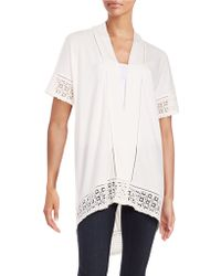 Lord + Taylor Lace Trim Cardigan - White