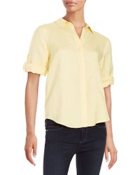 Lord & Taylor - Button-tab Sleeved Blouse - Lyst
