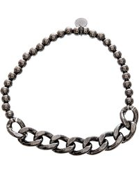 Lord + Taylor Black Sterling Silver Beaded Curbed Chain Stretchy Bracelet