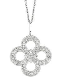 Morris & David - 14k White Gold Diamond Clover Pendant - 0.37 Tcw - Lyst