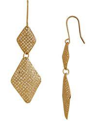 Lord & Taylor - 14k Italian Yellow Gold Diamond Shaped Dangling Earrings - Lyst