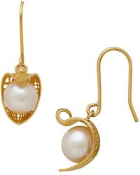 Lord & Taylor - 14k Pdc Italian Gold Wrapped Fresh Water Pearl Drop Earrings - Lyst