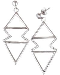Lord & Taylor - Cubic Zirconia Zigzag Triangle Earrings - Lyst