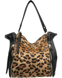 Chinese Laundry Abby Leopard Print Faux Fur And Leather Satchel - Black