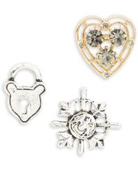 Lord & Taylor - Heart, Lock And Shield Pin Set - Lyst