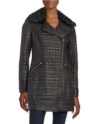 Via Spiga - Quilted Faux Fur-trimmed Coat - Lyst