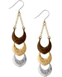 Lucky Brand - Tri-tone Linear Drop Earrings - Lyst