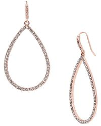 Lauren by Ralph Lauren - Pave Teardrop Hoop Pierced Earrings - Lyst