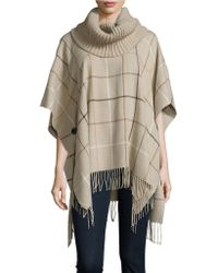 Lord + Taylor Plaid Knit Poncho - Multicolor