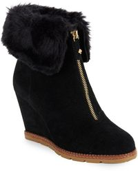 Kate Spade - Stasia Faux Fur-accented Suede Wedge Ankle Boots - Lyst
