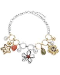 Gerard Yosca - Faux Pearl-accented Tonal Charm Necklace - Lyst