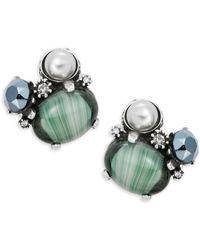 Gerard Yosca - Gemstudded Faux Pearl Clip-on Earrings - Lyst