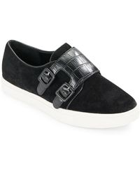 French Connection - Braylee Leather And Suede Double Monk Strap Trainers - Lyst