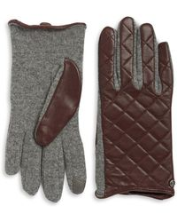 Lauren by Ralph Lauren - Wool-blend And Quilted Leather Touch Gloves - Lyst