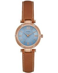 Guess - Park Aveneue Crystal-accented Rose Goldtone And Leather Watch - Lyst