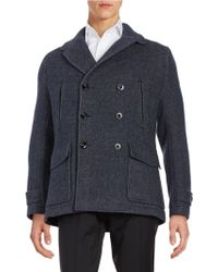 Hardy Amies Wool-blend Notched Collar Peacoat - Blue