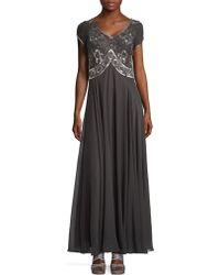 J Kara - Beaded Short Sleeved Embellished Bodice A-line Gown - Lyst