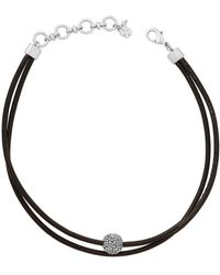 Lucky Brand - Rock Crystal And Leather Silvertone Choker Necklace - Lyst