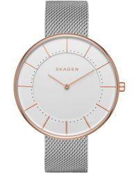 Skagen - Skw2583 Ladies Watch Gitte Milanaise Silver/ Rosegold - Lyst