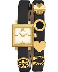 Tory Burch - Saucy Goldtone Stainless Steel & Double Leather-strap Watch - Lyst