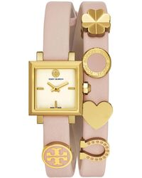 Tory Burch - Saucy Goldtone Stainless Steel & Double Wrap Leather-strap Watch - Lyst