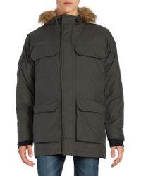Hawke & Co. - Faux Fur Trimmed Coat - Lyst
