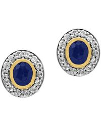 Effy - 925 Blue Sapphire, White Sapphire, 18k Yellow Gold And Sterling Silver Stud Earrings - Lyst