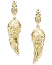House of Harlow 1960 - Crystal Pave Goldtone Angel Wing Drop Earrings - Lyst