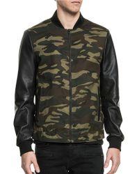 Lamarque - Lucas Baseball Collar Leather Sleeve Jacket - Lyst