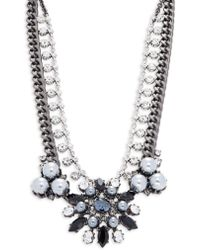 Gerard Yosca - Faux Pearl And Crystal Layered Statement Necklace - Lyst