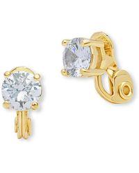 Anne Klein - Cubic Zirconia Clip-on Stud Earrings - Lyst