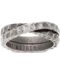 Steve Madden - Stainless Steel Hammered Crossover Band Ring - Lyst