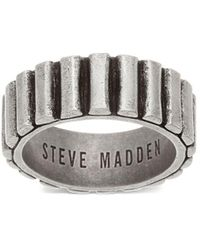 Steve Madden - Stainless Steel Ribbed Textured Band Ring - Lyst