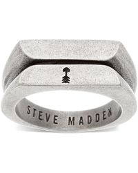 Steve Madden - Stainless Steel Ribbed Flat Textured Ring - Lyst
