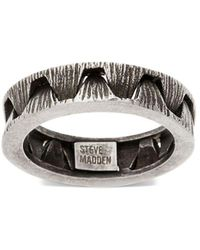 Steve Madden - Stainless Steel Ribbed Crown Optic Textured Ring - Lyst
