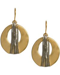 Kenneth Cole | Goldtone Wire Wrapped Oval Drop Earrings | Lyst
