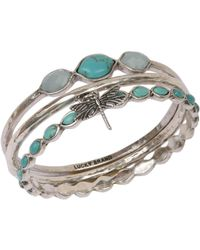 Lucky Brand Silvertone And Faux Turquoise Three Bangle Set - Blue