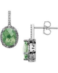 Lord & Taylor - Sterling Silver Green Amethyst Drop Earrings With White Topaz Halo - Lyst