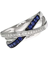 Effy - Royale Bleu 14kt. White Gold Sapphire And Diamond Crossover Ring - Lyst