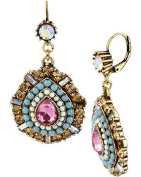 Betsey Johnson Multi Colour Crystal And Bead Teardrop Earrings - Pink