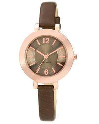 Nine West Ladies Chocolate And Rose Goldtone Watch - Metallic