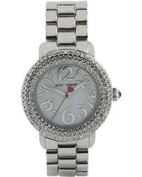 Betsey Johnson Ladies Silvertone Crystallized Watch - Metallic