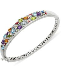 Lord + Taylor Sterling Silver And Multi Stone Bangle Bracelet - Metallic