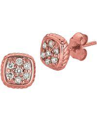 Morris & David - 14k Rose Gold And Diamond Square Earrings - Lyst