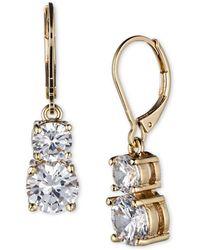 Anne Klein Gold-tone Pavé Crystal Drop Earrings - Metallic