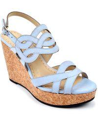Adrienne Vittadini - Camber Leather Platform Wedge Sandals - Lyst