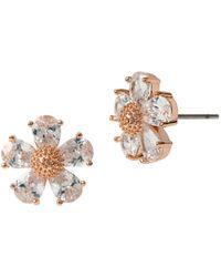 Betsey Johnson Rose Goldtone And Glitz Flower Earrings - Pink