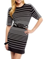 Debbie Shuchat - Jersey Stripe Belted Dress - Lyst