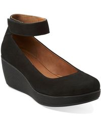 Clarks Claribel Fame Leather Mary Jane Platform Wedge Loafers - Black